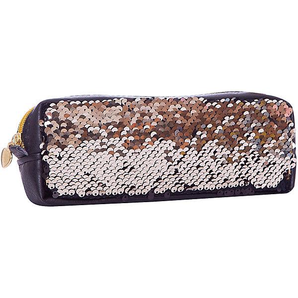 Пенал Centrum Хамелеон, черно-золотойПеналы без наполнения<br>Характеристики товара:<br><br>• вид: пенал;<br>• способ фиксации: молния;<br>• размер: 8х3,5х21 см.;<br>• цвет: черный, золото;<br>• вес: 100 гр.;<br>• материал: экокожа, ПВХ, пайетки;<br>• количество отделений: 1.<br><br>Пенал изготовлен из высококачественной экокожи. <br><br>Он хорошо держит форму, вместителен и в то же время не занимает много места в сумке, портфеле и на рабочем столе. <br><br>Модель подойдет для хранения школьных, канцелярский принадлежностей и прочих мелочей. <br><br>Также можно использоватьв качестве небольшой косметички, кошелька, футляра и даже клатча.<br><br>При разглаживании цвет пайеток будет меняться с черного на золотистый. <br><br>Имеется одно основное отделение, закрывающееся на молнию золотистого цвета.<br><br>Пенал Centrum «Хамелеон» черно-золотой можно купить в нашем интернет-магазине.<br>Ширина мм: 80; Глубина мм: 35; Высота мм: 210; Вес г: 100; Цвет: черный; Возраст от месяцев: 84; Возраст до месяцев: 192; Пол: Женский; Возраст: Детский; SKU: 8561184;