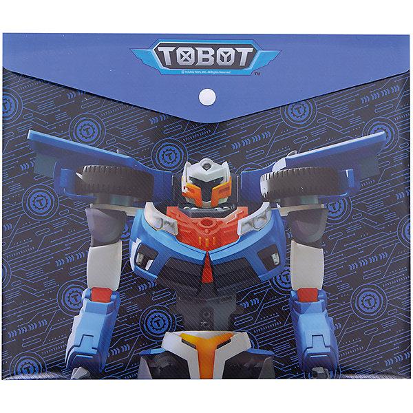 Купить Папка для тетрадей Limpopo Tobot с кнопкой, синяя, Россия, синий, Мужской