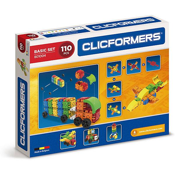Конструктор CLICFORMERS  Basic Set 110 деталейПластмассовые конструкторы<br>Характеристики товара:<br><br>• возраст: от 4 лет;<br>• материал: пластик;<br>• в комплекте: 110 деталей (60 квадратов, 8 мини-колес, 6 угловых квадратов, 4 пирамиды, 4 оси для колес, 4 шестиугольника, 4 арки, 4 купола, 2 овальные арки, 2 ковша, 12 декоративных накладок, наклейки, разделитель);<br>• размер упаковки: 45х36х6 см;<br>• вес упаковки: 1 кг.<br><br>Конструктор Clicformers Basic Set 110 позволит создавать невероятные фигурки, башенки, машины, животных и много другое. Кликформерс — это новый развивающий конструктор, очень простой в использовании. Детали конструктора можно соединять между собой 4 способами: методом защелкивания блоков между собой, методом складывания одного блока на другой, способом сцепления блоков друг за другом, а также вращая элементы на 180 градусов. <br><br>Все блоки легко соединяются между собой и прочно держатся. Конструктор способствует развитию мелкой моторики рук, логического мышления, поможет ребенку выучить геометрические формы и цвета. Все детали сделаны из безопасного ABS-пластика.<br><br>Конструктор Clicformers Basic Set 110 можно приобрести в нашем интернет-магазине.<br>Ширина мм: 500; Глубина мм: 70; Высота мм: 400; Вес г: 1320; Цвет: разноцветный; Возраст от месяцев: 36; Возраст до месяцев: 120; Пол: Унисекс; Возраст: Детский; SKU: 8564021;