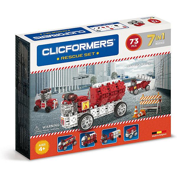 Конструктор CLICFORMERS Rescue set 73 деталиПластмассовые конструкторы<br>Характеристики товара:<br><br>• возраст: от 4 лет;<br>• материал: пластик;<br>• в комплекте: 73 детали (45 квадратов, 4 колеса, 4 мини-колеса, арка, 2 оси для колес, 2 шестиугольника, 8 декоративных накладок, 2 соединителя, сирена, 2 лампы, 2 соединительных оси, наклейки, разделитель);<br>• размер упаковки: 36х45х6 см;<br>• вес упаковки: 1 кг.<br><br>Конструктор Clicformers Rescue set 73 детали позволит собрать из деталей машины спасательных служб с мигалками, раздвижной лестницей, цистерной для воды.<br><br>Кликформерс — это новый развивающий конструктор, очень простой в использовании. Детали конструктора можно соединять между собой 4 способами: методом защелкивания блоков между собой, методом складывания одного блока на другой, способом сцепления блоков друг за другом, а также вращая элементы на 180 градусов. <br><br>Все блоки легко соединяются между собой и прочно держатся. Конструктор способствует развитию мелкой моторики рук, логического мышления, поможет ребенку выучить геометрические формы и цвета. Все детали сделаны из безопасного ABS-пластика.<br><br>Конструктор Clicformers Rescue set 73 детали можно приобрести в нашем интернет-магазине.