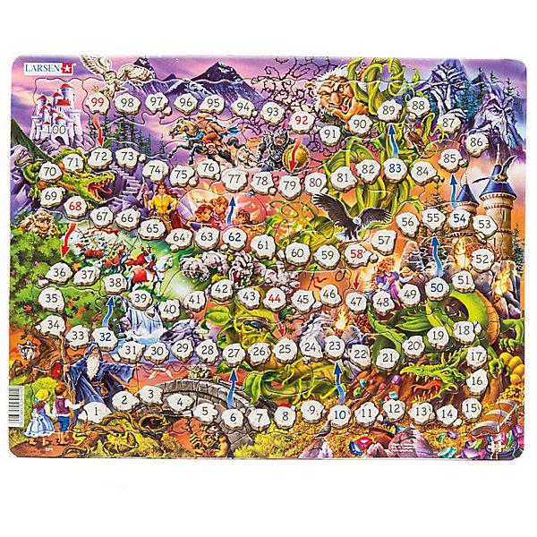 Пазл-игра ходилка Larsen Сказочный мир, 40 элементовПазлы для малышей<br>Характеристики:<br><br>• возраст: от 3 лет<br>• количество деталей: 40 шт.<br>• размер собранного пазла: 36,5х28,5 см.<br>• материал: многослойный картон<br>• кубик и фишки не входят в набор<br>• страна обладатель бренда: Норвегия<br><br>Пазл Ларсен «Сказочный мир» - это и красочный пазл, и интересная настольная игра-ходилка.<br><br>Из 40 деталей пазла малыш соберет яркое и красочное игровое поле, пронумерованное от 1 до 100. Бросая кубики, каждый игрок будет постепенно пробирается по нему, чтобы достичь цель - сказочный замок. Но это не так просто, потому что на пути ребенка ждет много препятствий и опасностей, как и в любой сказке. Путь будет пролегать через волшебный лес, полный сказочных персонажей – летучих мышей, троллей, рыцарей, драконов и эльфов. По пути малыша могут ждать сюрпризы, если он попадет на красную стрелку, то необходимо вернутся на пару ходов назад, а если на синюю стрелку – то можно продвинуться вперед.<br><br>Элементы пазла изготовлены из многослойного картона, они не деформируются, легко берутся в руки, отлично стыкуются друг с другом. Пазл снабжен специальной подложкой, благодаря чему его удобно собирать.<br><br>Сборка пазла поможет развить внимательность, мелкую моторику рук, воображение, логическое мышление, зрительное восприятие, усидчивость.<br><br>Пазл-игру Larsen Сказочный мир можно купить в нашем интернет-магазине.<br>Ширина мм: 365; Глубина мм: 285; Высота мм: 10; Вес г: 300; Цвет: разноцветный; Возраст от месяцев: 36; Возраст до месяцев: 2147483647; Пол: Унисекс; Возраст: Детский; SKU: 8571479;
