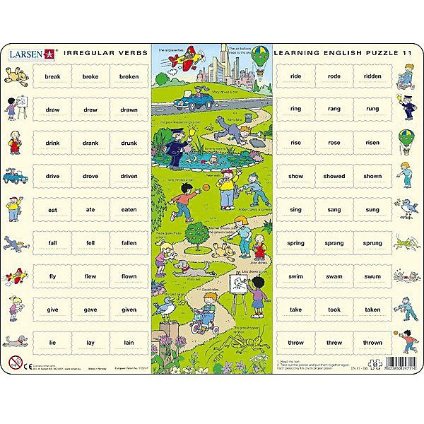 Пазл Larsen Английский язык 11, 54 элементаПазлы для малышей<br>Характеристики:<br><br>• возраст: от 6 лет<br>• количество деталей: 54 шт.<br>• размер собранного пазла: 36,5х28,5 см.<br>• материал: трехслойный картон<br>• страна обладатель бренда: Норвегия<br><br>Обучающий пазл Ларсен «Английский язык» поможет ребенку запомнить неправильные глаголы, а также познакомит с повседневной лексикой на тему прогулок и отдыха.<br><br>Из 54 деталей малыш соберет плакат с красочной картинкой посередине, на которой изображен парк, с гуляющими в нем детьми. Недалеко от парка проходит автомобильная дорога, а в небе летит самолет. По бокам картины расположены столбцы с формами неправильных глаголов, используемых на данной картинке. Рядом с каждой строкой - иллюстрация, изображающая действие. Подсказки также можно найти на картинке в центре пазла.<br><br>Элементы пазла изготовлены из высококачественного трехслойного картона, они не деформируются, легко берутся в руки, отлично стыкуются друг с другом. Все элементы пазла имеют разную форму и размер. Пазл снабжен специальной подложкой, благодаря чему его удобно собирать.<br><br>Сборка пазла поможет развить логическое мышление, умственные способности, моторику, расширить кругозор и с пользой провести досуг.<br><br>Пазл Larsen Английский язык можно купить в нашем интернет-магазине.