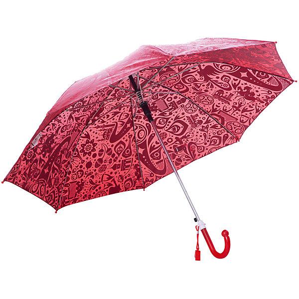 Зонт Mary Poppins FIFA-2018 67 см, красныйДетские зонты<br>Характеристики:<br><br>• возраст: от 3 лет;<br>• материал: полиэстер, пластик, металл;<br>• радиус купола: 67 см;<br>• вес: 260 гр.;<br>• размер упаковки: 67х5х5 см;<br>• страна производитель: Китай.<br><br>Стильный зонтик для маленького болельщика с изображением Fifa 2018 защитит  от дождя и снега. Зонтик изготовлен из легкого, но прочного пластика, благодаря чему  будет не сложно держать его над головой.<br><br>У зонта есть удобная закругленная ручка, которую комфортно держать. Так снижается риск того, что при сильном ветре зонтик выпадет из рук. Так же ветер не страшен и куполу – все элементы конструкции надежно скреплены между собой.<br><br>Зонт «Fifa 2018», 67 см красный можно купить в нашем интернет-магазине.<br>Ширина мм: 670; Глубина мм: 50; Высота мм: 50; Вес г: 260; Цвет: красный; Возраст от месяцев: 36; Возраст до месяцев: 2147483647; Пол: Мужской; Возраст: Детский; SKU: 8572417;