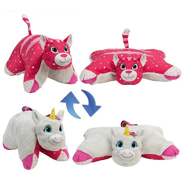 1Toy Подушка-Вывернушка 2в1 1toy Белый Единорог-Розовая Кошечка игрушка 1toy подушка furby в полоску т57472