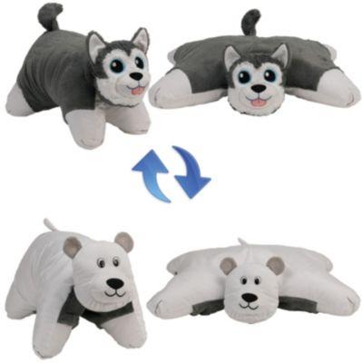 Подушка-Вывернушка 2в1 1toy  Хаски-Полярный Медведь , артикул:8574129 - Мягкие игрушки