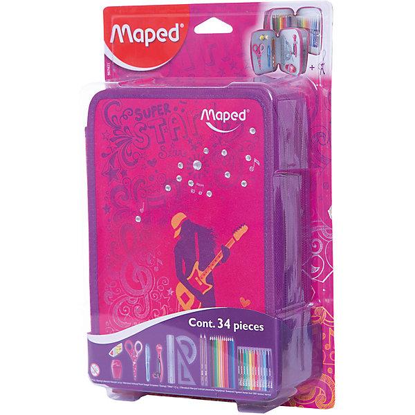 Купить Пенал Maped Girly c наполнением для детей, Франция, разноцветный, Женский