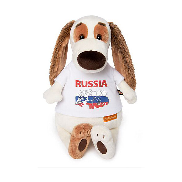 Купить Мягкая игрушка Budi Basa Собака Бартоломей в футболке с принтом Россия , 27 см, бежевый, Женский