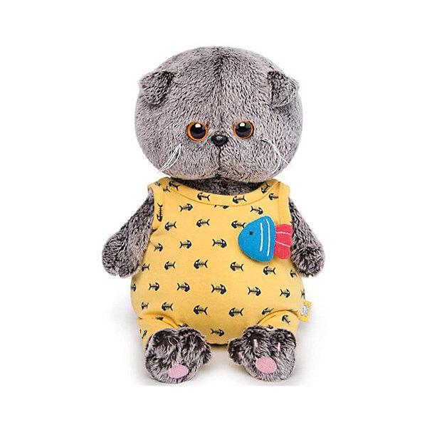 Budi Basa Мягкая игрушка Budi Basa Кот Басик Baby в желтом комбинезоне с рыбкой, 20 см