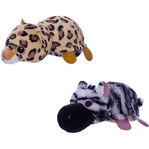 TEDDY Мягкая игрушка  Перевертыши Зебра-Леопард, 16 см.