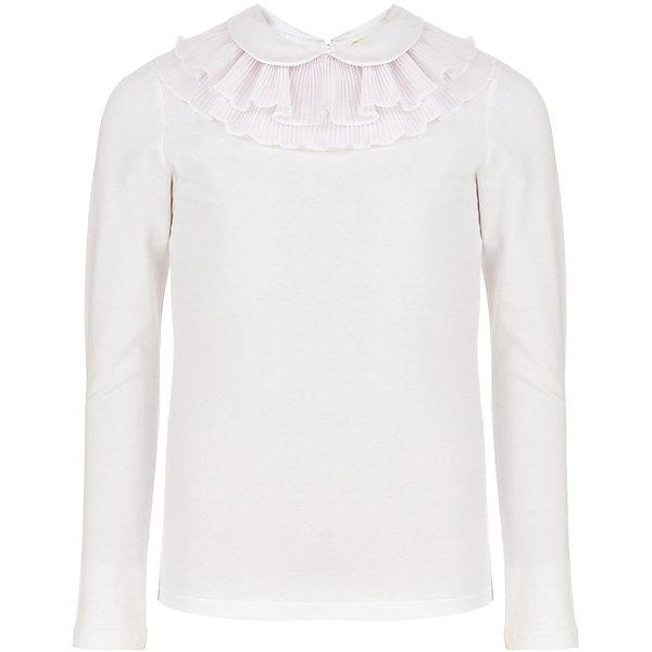 Блуза Button Blue для девочкиБлузки и рубашки<br>Характеристики товара:<br><br>• цвет: белый;<br>• состав: 95% хлопок, 5% эластан;<br>• сезон: круглый год;<br>• застёжка: пуговка сзади на горловине;<br>• особенности модели: школьная;<br>• блузка с длинным рукавом;<br>• воротник декорирован кружевом;<br>• страна бренда: Россия.<br><br>Белая школьная блузка - традиционная часть одежды для учебы, она помогает создать строгий классический образ, не теряя изящества и очарования. Трикотажная блузка для девочки - идеальная основа гардероба как ученицы младшей школы, так и подростка. Блузка декорирована кружевами и пуговицей со стразом, что делает повседневный школьный облик интереснее и оригинальнее.<br><br>Блузку Button Blue (Баттон Блю) можно купить в нашем интернет-магазине.<br>Ширина мм: 186; Глубина мм: 87; Высота мм: 198; Вес г: 160; Цвет: белый; Возраст от месяцев: 144; Возраст до месяцев: 156; Пол: Мужской; Возраст: Детский; Размер: 152,164,122,146,140,170,134,128,158; SKU: 8581830;