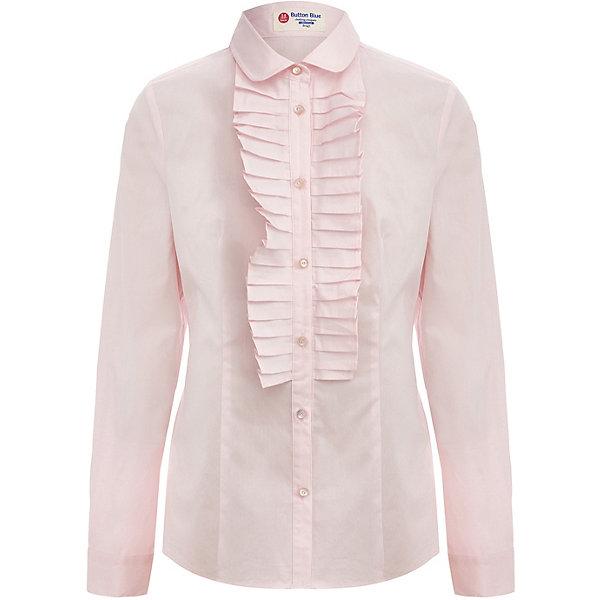 Блуза Button Blue для девочкиБлузки и рубашки<br>Характеристики товара:<br><br>• цвет: розовый;<br>• состав: 68% хлопок, 29% нейлон, 3% эластан;<br>• сезон: круглый год;<br>• застёжка: пуговицы;<br>• особенности модели: школьная, нарядная;<br>• блузка с длинным рукавом;<br>• манжеты рукавов на пуговице;<br>• блузка с жабо;<br>• пуговицы декорированы стразами;<br>• страна бренда: Россия.<br><br>Блузка с длинным рукавом застёгивается на пуговицы, манжеты рукавов на одной пуговице. Белая школьная блузка также хорошо сочетается с самой разной одеждой, поэтому станет прекрасной основой для разнообразных образов.<br><br>Блузку Button Blue (Баттон Блю) можно купить в нашем интернет-магазине.
