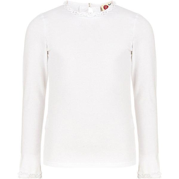 Блуза Button Blue для девочкиБлузки и рубашки<br>Характеристики товара:<br><br>• цвет: белый;<br>• состав: 95% хлопок, 5% эластан;<br>• сезон: круглый год;<br>• застёжка: пуговка сзади на горловине;<br>• особенности модели: школьная;<br>• блузка с длинным рукавом;<br>• декоративные элементы на воротнике и рукавах;<br>• страна бренда: Россия.<br><br>Белая школьная блузка - традиционная часть одежды для учебы, она помогает создать строгий классический образ, не теряя изящества и очарования. Трикотажная блузка для девочки - идеальная основа гардероба как ученицы младшей школы, так и подростка. Блузка украшена декоративными элементами на воротнике и рукавах, что придает оригинальность и индивидуальность повседневному школьному облику.<br><br>Блузку Button Blue (Баттон Блю) можно купить в нашем интернет-магазине.<br>Ширина мм: 186; Глубина мм: 87; Высота мм: 198; Вес г: 141; Цвет: белый; Возраст от месяцев: 96; Возраст до месяцев: 108; Пол: Женский; Возраст: Детский; Размер: 128,122,170,158,164,134,146,140,152; SKU: 8581962;
