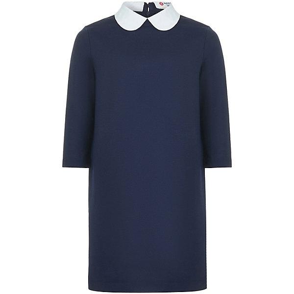 Платье Button Blue для девочкиПлатья и сарафаны<br>Характеристики товара:<br><br>• цвет: синий;<br>• состав: 74% полиэстер, 21% вискоза, 5% эластан;<br>• сезон: круглый год;<br>• застёжка: молния на спинке;<br>• особенности модели: школьное;<br>• рукав 3/4;<br>• воротничок контрастного белого цвета;<br>• свободный крой;<br>• страна бренда: Россия.<br><br>Школьное платье свободной формы подарит девочке комфорт, а ее облику должную строгость. Платье выполнено из качественных материалов, модный крой и рукав три четверти добавляют модели индивидуальность. <br><br>Платье Button Blue (Баттон Блю) можно купить в нашем интернет-магазине.