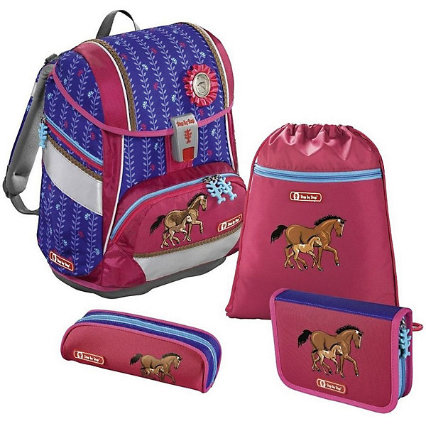 Ранец-рюкзак с наполнением Hama Step By Step 2in1 Lucky HorsesРанцы<br>Характеристики:<br><br>• начальная школа (1-4 классы);<br>• в комплекте: пенал односекционный с клапаном и с наполнением; пенал-тубус мягкий на молнии;  сумка для обуви два отделения;<br>• светоотражающие элементы;<br>• материал: полиэстер с водоотталкивающей пропиткой;<br>• объем: 19 л;<br>• спинка: жесткая;<br>• количество отделений внутри:2;<br>• боковые карманы;<br>• замок: защелка;<br>• вмещает А4;<br>• дно: пластиковое;<br>• подойдет для возраста какого 6-10 лет для роста 116-146;<br>• вес: 900 гр.;<br>• размер: 29х21х37 см;<br>• страна бренда: Германия.<br><br>Ранец Hama Step By Step 2in1 Lucky Horses включает в себя все, что может пригодиться в школе. Модель уникальна тем, что из нее вынимаются все жесткие перегородки и ранец становится рюкзаком. Перегородки могут использоваться как трафареты для рисования.  Регулировка спинки ранца производится через механизм регулировки прямо под спину ребенка.<br><br>Спинка эргономичной формы с подушечками и выемками для вентиляции выполнена из специально разработанного сетчатого материала для оптимальной вентиляции.<br><br>Регулируемые плечевые ремни специальной формы с мягкими вкладками. Светоотражающие элементы с трех сторон. Прочная магнитная застежка обеспечивает быстрый доступ к основному отделению. Передний карман выложен теплоизоляционным материалом, что позволяет сохранять температуру воды и напитков.<br>Табличка с именем владельца внутри. Расписание уроков в верхней крышке. Два основных и три дополнительных отделения, ручка, брелок под ключи.<br><br>Ранец-рюкзак Step By Step 2in1 Lucky Horses с наполнением можно купить в нашем интенрнет-магазине.<br>Ширина мм: 210; Глубина мм: 295; Высота мм: 375; Вес г: 1180; Цвет: pink/blau; Возраст от месяцев: 72; Возраст до месяцев: 120; Пол: Женский; Возраст: Детский; SKU: 8582314;