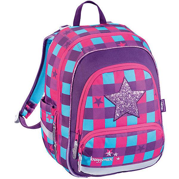 Ранец Hama BaggyMax Speedy Pink Star, без наполненияРанцы<br>Характеристики:<br><br>• начальная школа (1-4 классы);<br>• светоотражающие элементы;<br>• материал: полиэстер с водоотталкивающей пропиткой;<br>• объем: 16л;<br>• спинка: жесткая;<br>• количество отделений внутри:2;<br>• боковые карманы;<br>• замок: молнии;<br>• вмещает А4;<br>• дно: пластиковое;<br>• подойдет для возраста какого 6-10 лет для роста 116-146;<br>• вес: 800 гр.;<br>• размер: 28х36х17 см;<br>• страна бренда: Германия.<br><br>Ранец BaggyMax Speedy Pink Star — это эргономичный ранец с жесткой спинкой, который как в школе, так и в свободное время будет для вашего ребенка идеальным спутником. Помимо школы его можно использовать в поездках на отдых и в путешествиях. <br>Задняя часть ранца оснащена мягкими накладками и вентиляционными отверстиями для комфортной носки.<br><br>Ранец имеет два боковых кармана. Основное отделение разделено на несколько секций для комфортного распределения веса.<br>Имеется маленькое отделение на молнии для хранения ключей и мелочи. Передний карман подойдет для хранения пенала и ланч-бокса.<br>В верхнюю крышку можно поместить расписание уроков.<br><br>Ранец BaggyMax Speedy Pink Star можно купить в нашем интенрнет-магазине.<br>Ширина мм: 160; Глубина мм: 280; Высота мм: 370; Вес г: 800; Цвет: розовый/розовый; Возраст от месяцев: 72; Возраст до месяцев: 144; Пол: Женский; Возраст: Детский; SKU: 8582360;
