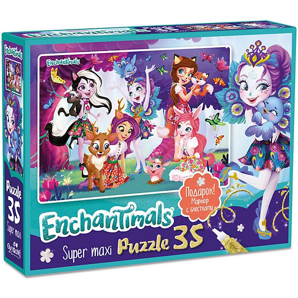 Купить Макси-пазл Enchantimals Любимые герои с глиттерным маркером, 35 элементов, Origami, Россия, разноцветный, Женский