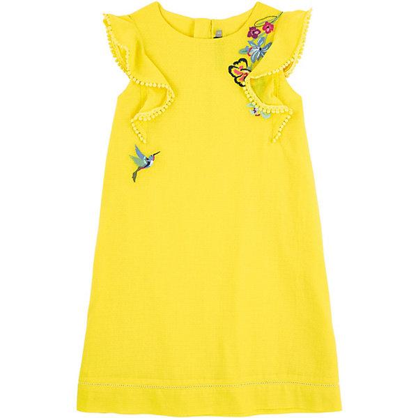 Платье Catimini для девочкиПлатья и сарафаны<br>Характеристики товара:<br><br>• цвет: желтый<br>•пол: девочки<br>• состав ткани: 100% хлопок<br>• вышитый узор<br>• фирменная лейба сзади <br>• дышащий материал<br>• свободный крой<br>• комфортная посадка<br>• короткие рукава с воланами<br>• потайная молния сзади<br>• подкладка из легкой ткани<br>• страна бренда: Франция<br><br>Французский бренд Catimini  (Кантимини) - это стильный продуманный дизайн и неизменно высокое качество исполнения.  Порадуйте ребенка обновкой от проверенного производителя!<br><br>Такая стильная модель обеспечит ребенку комфорт благодаря качественному материалу и продуманному крою. С помощью неё можно удобно одеться по погоде. Очень модная вещь! Выглядит нарядно и аккуратно.<br><br>Платье для девочки от Catimini  (Кантимини) можно купить в нашем интернет-магазине.<br>Ширина мм: 236; Глубина мм: 16; Высота мм: 184; Вес г: 177; Цвет: желтый; Возраст от месяцев: 48; Возраст до месяцев: 60; Пол: Женский; Возраст: Детский; Размер: 110,152,122,128,140,116,98,104; SKU: 8597092;