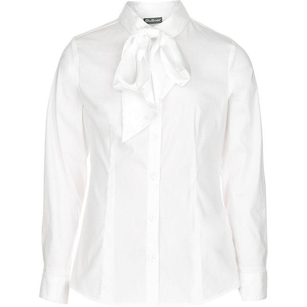 Блуза Gulliver для девочкиБлузки и рубашки<br>Характеристики товара:<br><br>• цвет: белый <br>• пол: девочки<br>• состав: 75% хлопок 23% полиэстер 2% эластан <br>• сезон: круглый год<br>• с длинным рукавом<br>• застежки: пуговицы<br>• с атласным бантом на воротнике<br>• особенности: школьная, нарядная<br>• бренд, страна бренда: Gulliver, Россия<br><br>Белая блузка с нарядным атласным бантом для девочки от российского бренда Gulliver - отличный вариант! И для каждого дня, и для торжественных школьных мероприятий, она будет незаменима! Прекрасная ткань, красивая форма, интересное оформление делают блузку яркой и привлекательной. <br><br>Такая блузка подчеркнет торжественность момента, сделав образ школьницы нарядным, элегантным, изысканным.<br>Ширина мм: 186; Глубина мм: 87; Высота мм: 198; Вес г: 197; Цвет: белый; Возраст от месяцев: 180; Возраст до месяцев: 180; Пол: Женский; Возраст: Детский; Размер: 170,164,158,134,140,152,146,122,128; SKU: 8606307;