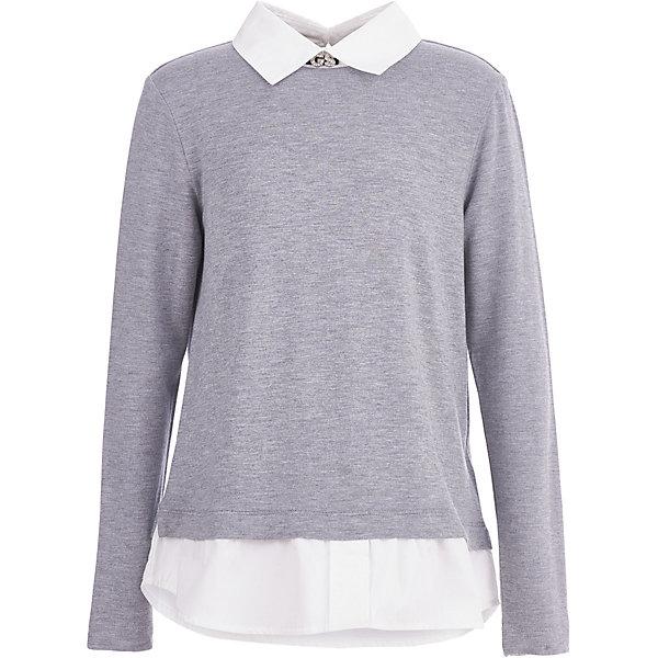 Блуза Gulliver для девочкиБлузки и рубашки<br>Характеристики товара:<br><br>• цвет: серый<br>• пол: девочки<br>• состав: 95% хлопок, 5% эластан<br>• сезон: круглый год<br>• с длинным рукавом<br>• с эффектом многослойности<br>• застежки: пуговица<br>• особенности: школьная, повседевная<br>• бренд, страна бренда: Gulliver, Россия<br><br>Серая трикотажная блузка для девочки от российского бренда Gulliver, имитирующая модную многослойность.   Эта вещь создает полную иллюзию элегантного комплекта: белой трапециевидной текстильной блузки и серого трикотажного джемпера. <br><br>Благодаря интересной форме, модному силуэту, прекрасному качеству исполнения, она имеет великолепный внешний вид и соответствует школьному дресс коду, но более комфортна, не стесняет движений, позволяя девочке быть самой собой. Школьная блузка для девочек от Gulliver, построенная на выразительной комбинации, сделает образ ребенка элегантным и изысканным. В оформлении модели использована небольшая фирменная нашивка с сияющими стразами.<br>Ширина мм: 186; Глубина мм: 87; Высота мм: 198; Вес г: 197; Цвет: серый; Возраст от месяцев: 84; Возраст до месяцев: 84; Пол: Женский; Возраст: Детский; Размер: 122,146,140,158,164,134,152,170,128; SKU: 8606463;