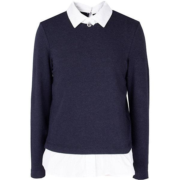 Купить Блуза Gulliver для девочки, Китай, темно-синий, 152, 158, 128, 146, 164, 170, 140, 122, 134, Женский