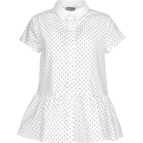 Блуза Gulliver для девочкиБлузки и рубашки<br>Характеристики товара:<br><br>• цвет: белый в горошек <br>• пол: девочки<br>• состав: 75% хлопок 23% полиэстер 2% эластан <br>• сезон: круглый год<br>• с коротким рукавом<br>• застежки: пуговицы<br>• крой с баской<br>• особенности: школьная, нарядная<br>• бренд, страна бренда: Gulliver, Россия<br><br>Блузка с коротким рукавом для девочки от российского бренда Gulliver - прекрасный вариант для жарких классов. С жакетом или кардиганом, белая школьная блузка для девочек будет выглядеть стильно, красиво, достойно. Оригинальный крой с баской, белая блузка в мелкий горошек сделает образ свежим и элегантным. <br><br>Она сделает образ свежим и элегантным, подчеркнув индивидуальность ребенка.<br>Ширина мм: 186; Глубина мм: 87; Высота мм: 198; Вес г: 197; Цвет: белый; Возраст от месяцев: 144; Возраст до месяцев: 144; Пол: Женский; Возраст: Детский; Размер: 152,146,170,158,140,128,164,122,134; SKU: 8606486;