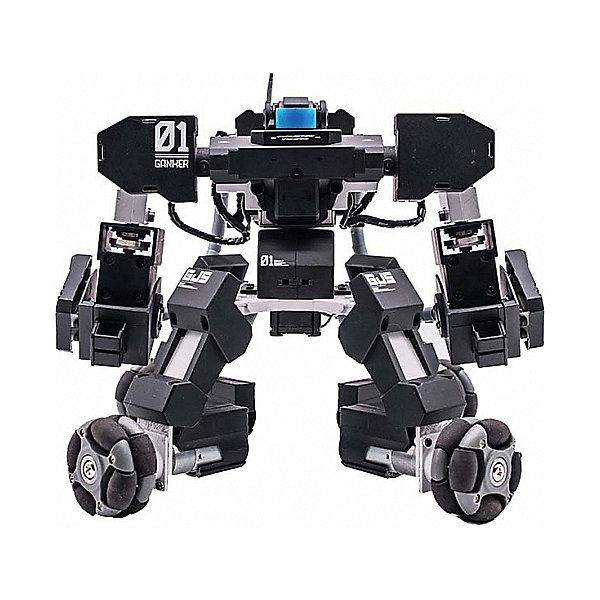 Робот Hoverbot Ganker BlackРоботы-игрушки<br>Характеристики товара:<br><br>• возраст: от 6 лет;<br>• материал: пластик;<br>• в комплекте: робот, зарядное устройство, аккумулятор, меч, копье, револьвер, большой сменный сервопривод, маленький сменный сервопривод, инструкция;<br>• высота робота: 20 см;<br>• размер упаковки: 30х29х26 см;<br>• вес упаковки: 1,5 кг.<br><br>Робот Hoverbot Ganker Black — увлекательная игрушка-робот, который способен вести настоящие бои. Управляется робот обычным смартфоном, к которому он подключается с помощью Wi-Fi. Он будет выполнять совершенно невероятные команды, двигаться вперед, вести сражения или даже играть в футбол. <br><br>Мощный и подвижный робот двигается при этом плавно и бесшумно благодаря своему инновационному шасси. Он легко заходит на повороты и не опрокидывается. Возможность менять боевую броню робота открывает неограниченное пространство для фантазии и создание разных модульных вариантов.  <br><br>Для управления роботом на смартфон скачивается специальное мобильное приложение. В приложении можно найти новых игроков. На роботе есть сенсорные датчики, которые реагируют на повреждения во время боя и передают всю информацию на приложение.<br><br>Робота Hoverbot Ganker Black можно приобрести в нашем интернет-магазине.