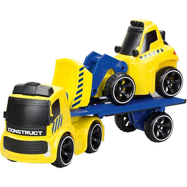 Набор Трак Silverlit Tooko на ИК управлении и бульдозер со вободным ходомМашинки<br>Характеристики:<br><br>• материал: пластик<br>• в комплекте: трак, бульдозер, пульт управления, инструкция<br>• питание грузовика: батарейки 3 x AA (не входят в комплект)<br>• питание пульта: батарейки 3 x AA (не входят в комплект)<br>• размеры: 13х47х36  см<br>• вес: 2,4 кг<br><br>Большой и яркий бульдозер с тонированными стеклами и большими колсами с рельефным протектором. Радиус действия управления 20 метров. Оснащен звуковыми эффектами. Обладает колесами со свободным ходом, можно имитировать его работу благодаря его подвижному отвалу.<br>Выполнен из гипоалергенного, ударопрочного и безопасного пластика.