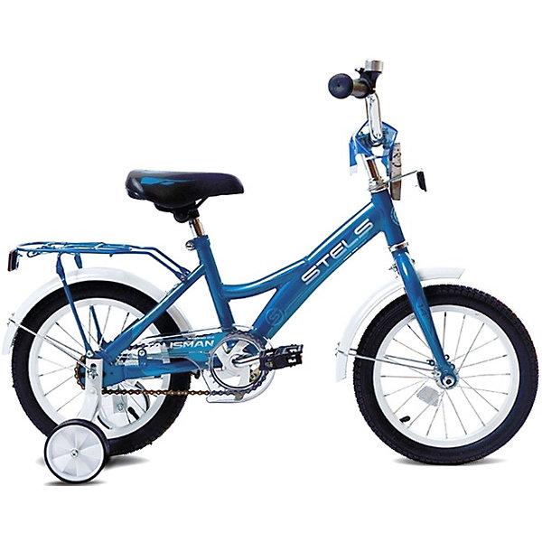 Детский велосипед STELS Talisman 18 (Z010) 12 синийВелосипеды<br>Характеристики:<br><br>• возраст: от 6 лет;<br>• материал: сталь, алюминий, пластик;<br>• рост ребенка: до 125 см;<br>• размер рамы: 12 дюймов;<br>• в комплекте: дополнительные колеса, накладка на раму, накладка на вынос руля, накладка на руль, звонок;<br>• тип тормоза: задний ножной;<br>• диаметр колес: 18 дюймов;<br>• регулируемая высота сиденья: да;<br>• регулируемая высота руля: да;<br>• конструкция рулевой колонки: резьбовая;<br>• подножка: нет;<br>• защита от брызг: да;<br>• жесткая стальная вилка;<br>• обода: алюминиевые одинарные;<br>• вес упаковки: 11,3 кг.;<br>• размер упаковки: 97х19х48 см;<br>• страна бренда: Россия.<br><br>Велосипед Stels Talisman оснащен дополнительными съемными колесами, которые помогут быстро и безопасно научиться ребнеку кататься и держать равновесие. Конструкция велосипеда имеет низкую посадку. Руль и сиденье регулируется по росту ребенка.<br><br>Стальная рама отлично справляется с нагрузкой, устойчива к механическому воздействию, покрыта стойкими яркими красками. Имеется багажник и крылья для защиты от брызг. Цепь велосипеда закрыта щитком во избежание контакта с одеждой. Крупные колеса имеют хорошую проходимость даже по неровной дороге.<br><br>Для безопасного торможения предусмотрен ножной тормоз вращением педалей назад. На ручках руля есть противоударные ограничители. В дополнение к комфортной езде предусмотрено мягкое широкое сиденье. Сделано из качественных материалов.