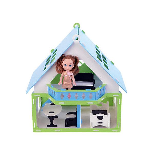 Replace and Choose Домик для кукол Дачный дом Варенька, бело- голубой с мебелью
