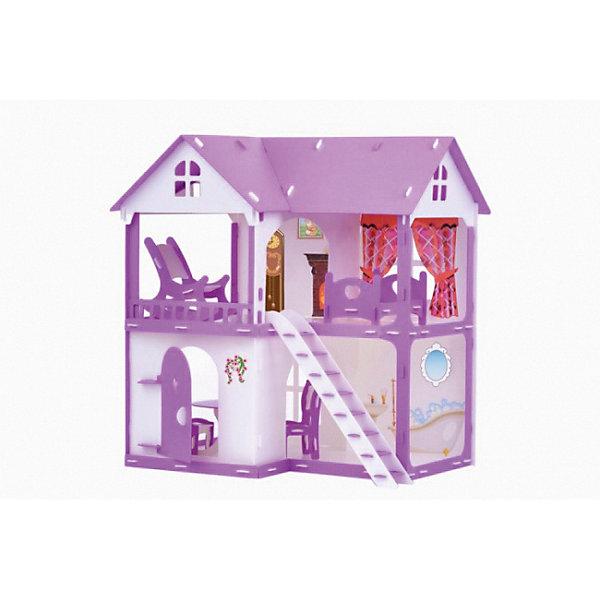 Купить Домик для кукол Коттедж Светлана , бело- с мебелью, бело-сиреневый с мебелью, Россия, Женский