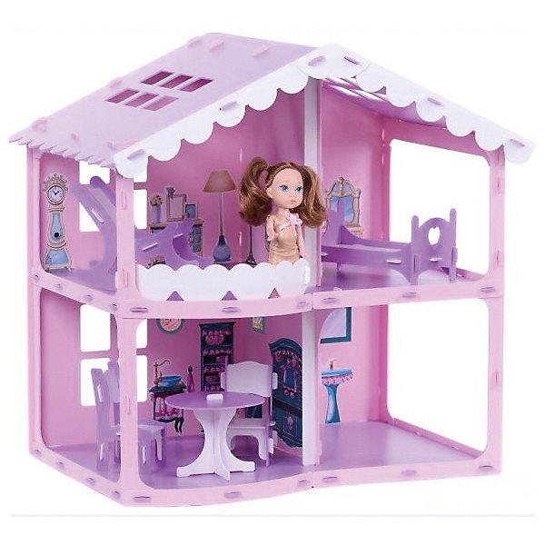 Домик для кукол Дом Анжелика, розово-сиреневый с мебельюДомики для кукол<br>Характеристики товара:<br><br>• возраст: от 3 лет;<br>• материал: пластик;<br>• в комплекте: домик, кровать, кресло-качалка, стол, 2 стула, набор наклеек;<br>• размер домика: 39х55,5х53 см;<br>• размер упаковки: 52х38х4 см;<br>• вес упаковки: 1,62 кг.<br><br>Домик для кукол «Дом Анжелика» розово-сиреневый - небольшой двухэтажный домик для кукол. Всего в домике 4 комнаты. Девочка может располагать мебель в комнатах по своему желанию. На втором этаже красивый фигурный балкон и большие окна на крыше. Домик легко и быстро собирается и разбирается без использования дополнительных инструментов. Подойдет для кукол до 16 см. Домик выполнен из качественного безопасного пластика.<br><br>Домик для кукол «Дом Анжелика» розово-сиреневый можно приобрести в нашем интернет-магазине.<br>Ширина мм: 520; Глубина мм: 40; Высота мм: 380; Вес г: 1620; Цвет: розовый; Возраст от месяцев: 36; Возраст до месяцев: 2147483647; Пол: Женский; Возраст: Детский; SKU: 8623959;