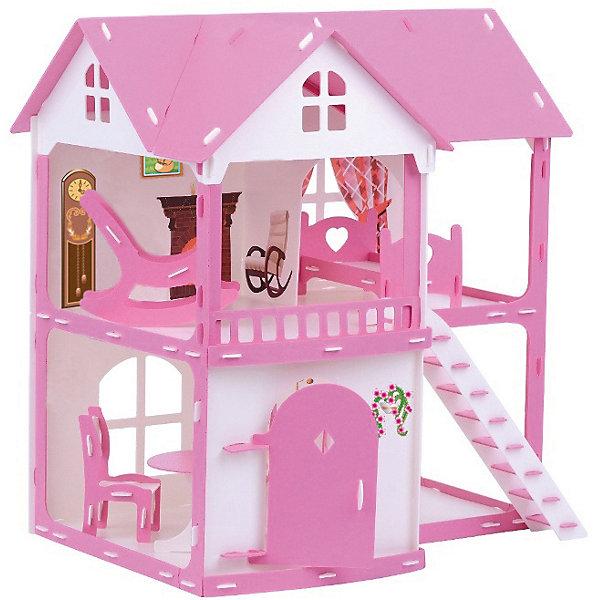 Купить Домик для кукол Коттедж Светлана , бело-розовый с мебелью, Россия, розовый/белый, Женский