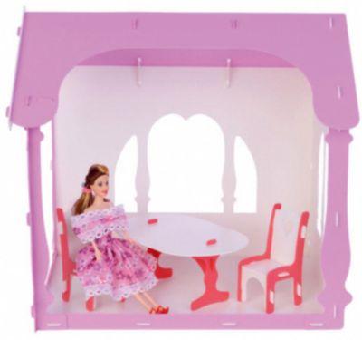 Replace and Choose Домик для кукол Летний дом Вероника, бело-розовый с мебелью