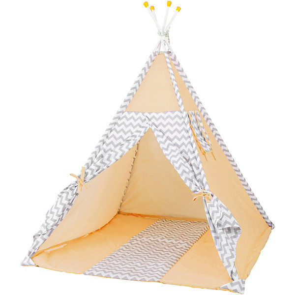 Палатка-вигвам детская Polini Зигзаг, желтаяИгровые палатки<br>Характеристики товара:<br><br>• возраст: от 3 лет;<br>• материал стоек: сталь;<br>• материал верха: 100% хлопок, наполнитель: 100% полиэстер;<br>• материал чехла: 100% хлопок;<br>• размер палатки: 130х130х147 см;<br>• размер упаковки: 67,1х35,1х12,1 см;<br>• вес упаковки: 5,3 кг.<br><br>Палатка-вигвам детская Polini «Зигзаг» желтая станет уютным местом для игр и отдыха ребенка. Палатку можно установить как дома, так и на свежем воздухе. Палатка устанавливается на 4 прочные стальные стойки, благодаря чему палатка отличается надежностью и устойчивостью конструкции. Окна и дверь палатки фиксируются открытыми при помощи завязок. Вентиляционное отверстие в верхней части обеспечивает циркуляцию и поток воздуха. Верх выполнен из мягкого натурального хлопка.<br><br>Палатку-вигвам детскую Polini «Зигзаг» желтую можно приобрести в нашем интернет-магазине.<br>Ширина мм: 671; Глубина мм: 351; Высота мм: 121; Вес г: 5300; Цвет: желтый; Возраст от месяцев: 36; Возраст до месяцев: 1188; Пол: Унисекс; Возраст: Детский; SKU: 8645843;