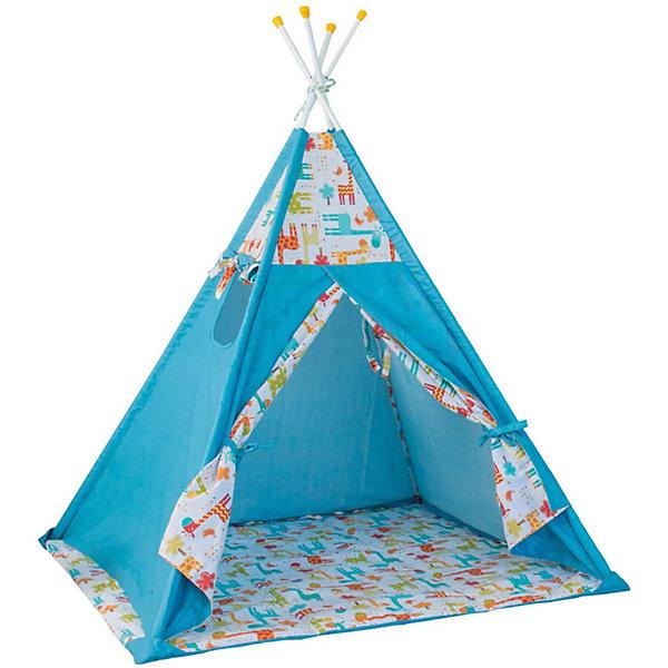 Купить Палатка-вигвам детская Polini Жираф, голубая, Polini-kids, Россия, синий, Унисекс