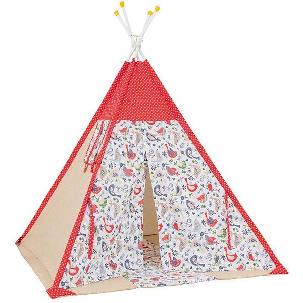 Палатка-вигвам детская Polini Кантри, краснаяИгровые палатки<br>Характеристики товара:<br><br>• возраст: от 3 лет;<br>• материал стоек: сталь;<br>• материал верха: 100% хлопок, наполнитель: 100% полиэстер;<br>• материал чехла: 100% хлопок;<br>• размер палатки: 130х130х147 см;<br>• размер упаковки: 67,1х35,1х12,1 см;<br>• вес упаковки: 5,3 кг.<br><br>Палатка-вигвам детская Polini «Кантри» красная станет уютным местом для игр и отдыха ребенка. Палатку можно установить как дома, так и на свежем воздухе. Палатка устанавливается на 4 прочные стальные стойки, благодаря чему палатка отличается надежностью и устойчивостью конструкции. Окна и дверь палатки фиксируются открытыми при помощи завязок. Вентиляционное отверстие в верхней части обеспечивает циркуляцию и поток воздуха. Верх выполнен из мягкого натурального хлопка.<br><br>Палатку-вигвам детскую Polini «Кантри» красную можно приобрести в нашем интернет-магазине.<br>Ширина мм: 671; Глубина мм: 351; Высота мм: 121; Вес г: 5300; Цвет: красный; Возраст от месяцев: 12; Возраст до месяцев: 144; Пол: Унисекс; Возраст: Детский; SKU: 8645863;
