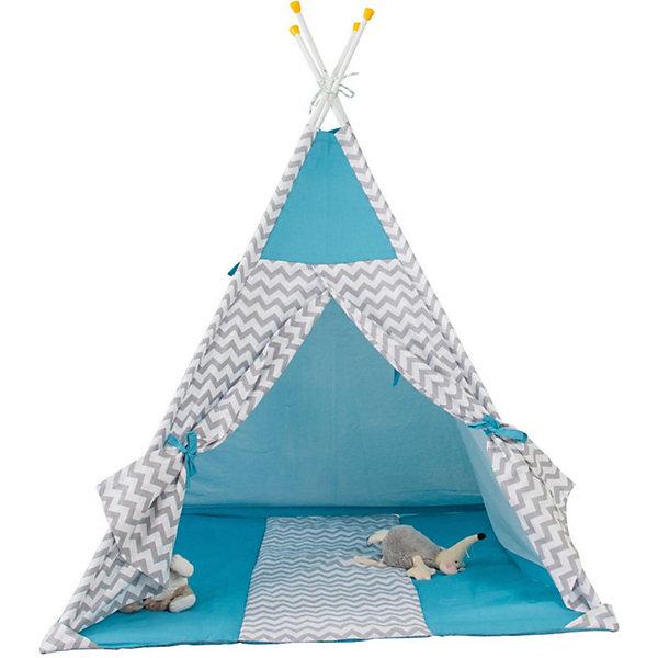 Купить Палатка-вигвам детская Polini Зигзаг, голубая, Polini-kids, Россия, синий, Унисекс