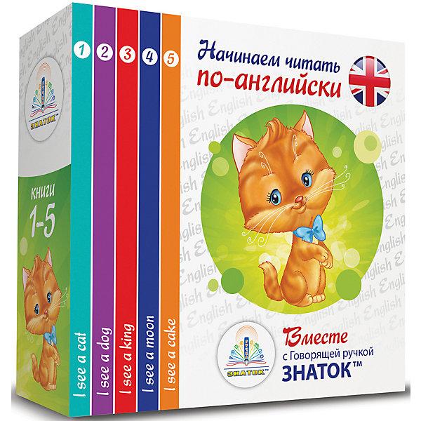 Комплект говорящих книг Знаток I see… Начинаем читать по-английски вместе с Говорящей ручкойГоворящие ручки с книгами<br>Характеристики:<br><br>• возраст: от 3 лет;<br>• автор: Т. Клементьева;<br>• ISBN: 9785424400780;<br>• издательство: «Знаток»;<br>• в наборе 5 книг: I see a cat, I see a dog, I see a king, I see a moon, I see a cake;<br>• вес упаковки: 657 гр.;<br>• размер упаковки: 15,5х15,5х4,5 см;<br>• страна бренда: Россия.<br><br>Набор из 5 книг «Начинаем читать по-английски» от издательства «Знаток» подходит для изучения с «Говорящей ручкой Знаток» второго поколения. Книги знакомят ребенка с простыми словами и предложениями на иностранном языке.<br><br>На страницах книжек нарисованы предметы и подписи к ним. Особенность книги – зарифмованные слова для более легкого запоминания и восприятия. Весь материал озвучивает ручка. В конце книжек есть словарики.<br><br>Набор из 5 книг «Начинаем читать по-английски» вместе с говорящей ручкой «Знаток» 2-го поколения можно купить в нашем интернет-магазине.<br>Ширина мм: 155; Глубина мм: 155; Высота мм: 42; Вес г: 657; Возраст от месяцев: 36; Возраст до месяцев: 72; Пол: Унисекс; Возраст: Детский; SKU: 8646769;