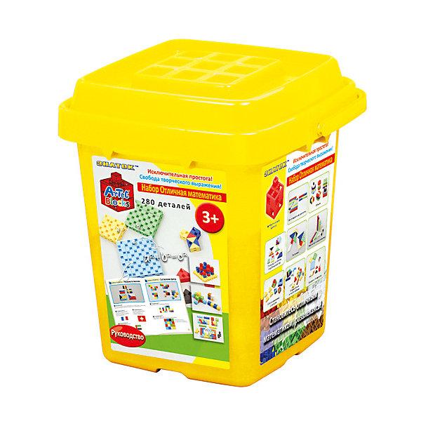 Конструктор Знаток Artec  Bloks Отличная математика, 280 деталейПластмассовые конструкторы<br>Характеристики:<br><br>• возраст: от 3 лет;<br>• материал: пластик;<br>• количество деталей: 280;<br>• в наборе: детали, инструкция к играм, ведерко;<br>• вес упаковки: 1,3 кг.;<br>• размер упаковки: 21,6х24,2х21,3 см;<br>• страна бренда: Россия.<br><br>Конструктор Znatok Artec Blocks «Отличная математика» представляет собой красочные блоки разных форм (треугольники, квадраты. Конструктор в игровой форме знакомит ребенка с основами математики – счетом, решением примеров и даже теоремой Пифагора. Для этого в наборе есть инструкция с 40 играми 7-ми уровней сложности. Кроме того, из деталей можно собрать неограниченное количество собственных предметов и сооружений. <br><br>Уникальная особенность конструктора – возможность собирать детали совершенно в любом положении: вертикально, горизонтально и даже по диагонали. Все детали конструкторов линейки Artec Blocks сочетаются между собой и делают игру еще масштабнее и интересней.<br><br>Сборка конструктора «Знаток» не только тренирует мелкую моторику и цветовосприятие, но также развивает фантазию, абстрактное и логическое мышление. Сделано из качественного безопасного пластика.<br><br>Конструктор Znatok Artec «Отличная математика» 280 дет. можно купить в нашем интернет-магазине.<br>Ширина мм: 245; Глубина мм: 220; Высота мм: 220; Вес г: 1300; Возраст от месяцев: 36; Возраст до месяцев: 72; Пол: Унисекс; Возраст: Детский; SKU: 8646797;