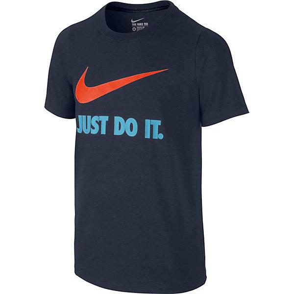Футболка NIKEФутболки, поло и топы<br>Характеристики товара:<br><br>• цвет: синий;<br>• модель: Legend; <br>• состав: 100% хлопок;<br>• футболка с коротким рукавом;<br>• эластичная горловина;<br>• страна бренда: США.<br><br>Футболка от Nike (Найк) Jdi Swoosh Crew выполнена из мягкого трикотажа. Модель прямого кроя. Крой плеча с заворотом вперед для дополнительной свободы движений. Горловина из рубчатой ткани для надежной фиксации. Круглый вырез горловины для комфортной посадки.<br>Ширина мм: 199; Глубина мм: 10; Высота мм: 161; Вес г: 151; Цвет: синий; Возраст от месяцев: 108; Возраст до месяцев: 120; Пол: Унисекс; Возраст: Детский; Размер: 134/140,128/134,146/158,122/128,158/170; SKU: 8648232;