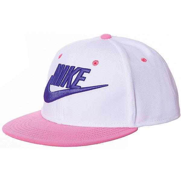 Кепка NIKEГоловные уборы<br>Характеристики товара:<br><br>• цвет: белый/розовый;<br>• модель: Futura True; <br>• состав: 100% полиэстер;<br>• регулируемый ремешок сзади;<br>• страна бренда: США.<br><br>Бейсболка Nike Futura True с застёжками сзади для регулировки посадки выполнена в ярких цветах, которые придают спортивный вид и привлекают внимание. Плоский плотный козырек, вышивка логотипа бренда, вышитые люверсы для воздухопроницаемости, регулируемая застежка.<br>Ширина мм: 89; Глубина мм: 117; Высота мм: 44; Вес г: 155; Цвет: белый; Возраст от месяцев: 120; Возраст до месяцев: 1188; Пол: Унисекс; Возраст: Детский; Размер: one size; SKU: 8648244;