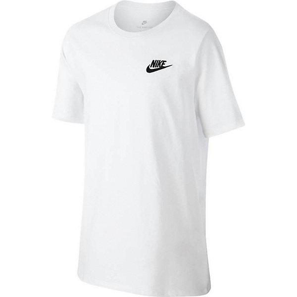 Футболка NIKEФутболки, поло и топы<br>Характеристики товара:<br><br>• цвет: белый;<br>• модель: Tee-Emb Futura; <br>• состав: 100% хлопок;<br>• футболка с коротким рукавом;<br>• эластичная горловина;<br>• страна бренда: США.<br><br>Классическая футболка в безупречном исполнении Nike (Найк). Модель Tee-Emb Futura<br>изготовлена из натурального хлопка превосходного качества. На груди расположен принт с логотипом бренда. Незаменимая вещь, которая отлично подойдет как для занятий спортом, так и для повседневного использования в теплое время года.<br>Ширина мм: 199; Глубина мм: 10; Высота мм: 161; Вес г: 151; Цвет: белый; Возраст от месяцев: 84; Возраст до месяцев: 96; Пол: Унисекс; Возраст: Детский; Размер: 122/128,158/170,146/158,128/134,134/140; SKU: 8648290;