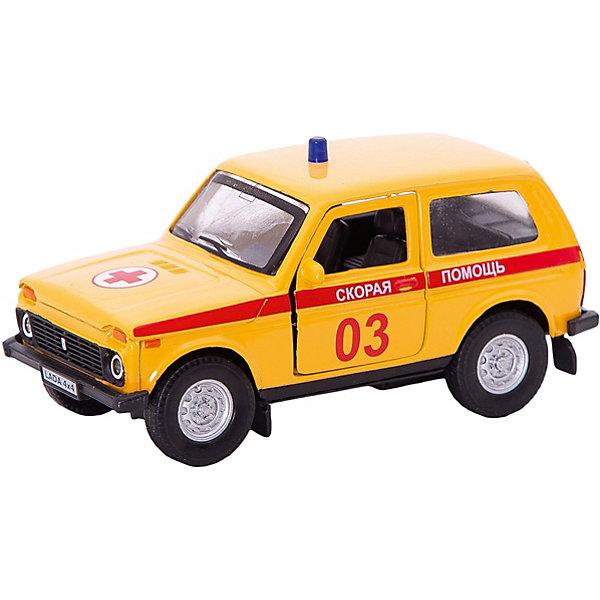 Autotime Коллекционная машинка Autotime Lada 4х4 Скорая помощь 1:36, желтая autotime машинка газ 31105 волга мчс 1 43 autotime