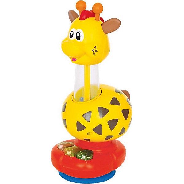 Развивающая игрушка Kiddieland ЖирафИнтерактивные игрушки для малышей<br>Характеристики:<br><br>• возраст: от 1,5 лет;<br>• материал: пластик, текстиль;<br>• тип батареек: 3хАА;<br>• наличие батареек: не входят в комплект;<br>• размер: 13х26х24 см;<br>• вес: 870 гр;<br>• бренд: Kiddieland.<br><br>Развивающая игрушка Kiddieland «Жираф» обязательно порадует любого мальчишку. Игрушка с помощью пульта дистанционного управления движется вперед, назад, поворачивает влево и вправо! Забавный радиоуправляемый жираф красочно оформлен. Во время езды светятся огоньки в рожках, звучит веселая музыка или забавные звуки, двигаются ноги и голова. На спине жирафа сидит смешная зеленая птичка, если на нее нажать, то услышишь пение или приятную музыку.<br> <br>Пульт обтекаемой формы белого цвета с тремя большими красными кнопками, очень удобен для маленьких детских ручек. Игрушка развивает мелкую моторику, мышление, зрительное и звуковое восприятие, повышает двигательную активность малышей. Игра с Быстрым Жирафом познакомит ребенка с причинно-следственными связями, разовьет творческое мышление. <br><br>Развивающую игрушку Kiddieland «Жираф» можно купить в нашем интернет-магазине.<br>Ширина мм: 50; Глубина мм: 38; Высота мм: 48; Вес г: 386; Цвет: желтый; Возраст от месяцев: 6; Возраст до месяцев: 24; Пол: Унисекс; Возраст: Детский; SKU: 8650156;
