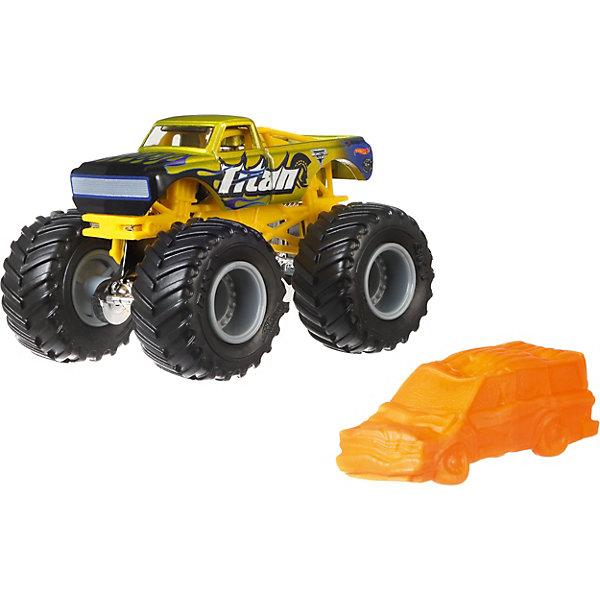 Базовая машинка Hot Wheels Monster Jam TitanМашинки<br>Характеристики товара:<br><br>• возраст: от 3 лет;<br>• материал: пластик, металл;<br>• масштаб: 1:64;<br>• размер упаковки: 18х14х6 см;<br>• вес упаковки: 170 гр.<br><br>Базовые машинки Hot Wheels Monster Jam отличаются своими яркими расцветками. Машинки данной серии оснащены большими мощными колесами. Игрушка выполнена из ударопрочных качественных материалов.<br>Ширина мм: 60; Глубина мм: 140; Высота мм: 180; Вес г: 170; Возраст от месяцев: 48; Возраст до месяцев: 96; Пол: Мужской; Возраст: Детский; SKU: 8650205;