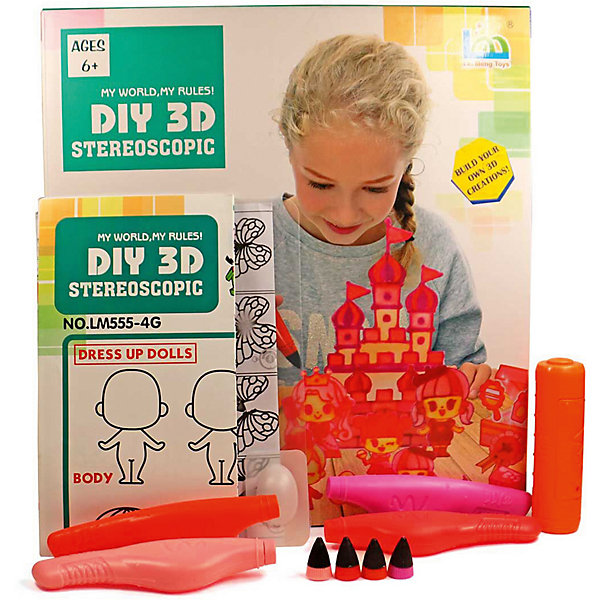 3D Stereoscopic 3Д ручка DIY 3D Stereoscopic 3D Magic Glue Принцессы, 4 ручки