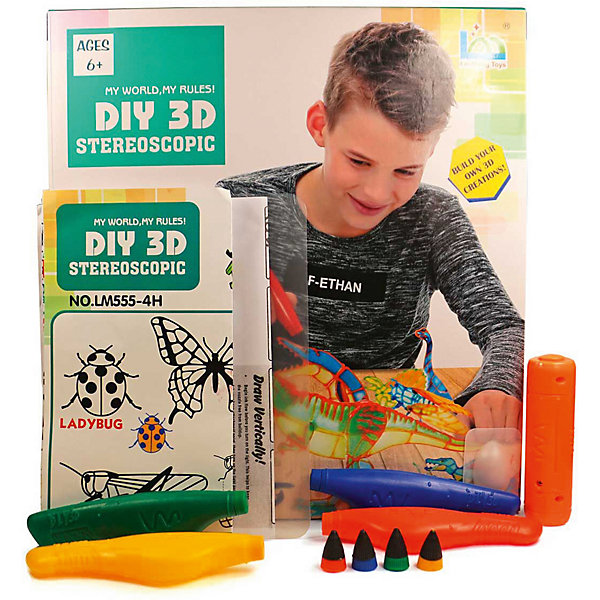 3D Stereoscopic 3Д ручка DIY 3D Stereoscopic 3D Magic Glue Динозавр, 4 ручки