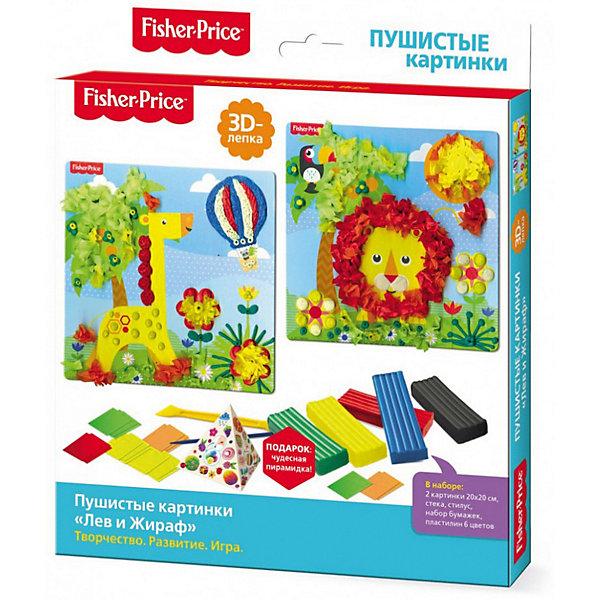 Набор для 3D-лепки Origami Fisher-Price Лев и жирафКартины из пластилина<br>Характеристики товара:<br><br>• возраст: от 3 лет;<br>• в комплекте: 2 картинки, пластилин 6 цветов, стека, набор бумаги, стилус;<br>• размер упаковки: 23х20х2 см;<br>• вес упаковки: 140 гр.;<br>• страна бренда: Россия.<br><br>Для того чтобы сделать пушистые картинки из пластилина просто воткни бумажную заготовку в пластилиновый шарик. Твоя картинка станет объемной и пушистой! Укрась картинки пластилиновыми деталями по-своему. <br><br>Чудесная пирамидка подскажет идеи лепки. Набор способствует развитию сенсомоторики, пространственного мышления, концентрации внимания.