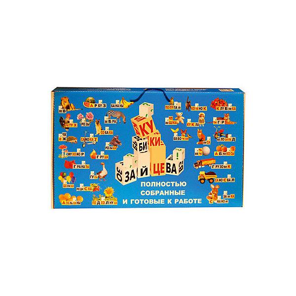 Кубики Зайцева, собранныеМетодики<br>Характеристики:<br><br>• возраст: от 3 лет;<br>• материал: картон, бумага, металл;<br>• комплектация:  61 кубик, 6 листов таблиц (формата А2), методическое руководство, аудиозапись на CD-диске;<br>• размер: 14хх29х50 см;<br>• вес: 3 кг;<br>• издательство: Корвет;<br>• страна производства: Россия.<br><br>«Кубики Зайцева собранные» - это уникальное пособие для обучения чтению, не имеющее аналогов нигде в мире.  В отличие от обычных кубиков-азбуки, на гранях кубиков Зайцева изображены не буквы, а склады.  Склад - это пара из согласной с гласной, или из согласной с твердым или мягким знаком, или же одна буква. Например: М-МА-МО-МУ-МЫ-МЭ. <br><br>Кубики Зайцева отличаются по цвету, размеру и звучанию (для того, чтобы кубики заговорили их наполняют разным содержимым - деревянными палочками, металлическими крышечками, колокольчиками).  Таким образом, метод кубиков Зайцева затрагивает 3 сенсорные области: слуховую, зрительную и тактильную, что существенно облегчает запоминание букв и обучение чтению.<br><br>При обучении чтению по кубикам Зайцева у детей не портится осанка, поскольку им не надо подолгу сидеть; не портится зрение, поскольку кубики крупные (ребро 5-6 см). Кубики Зайцева позволяют дать ребенку сразу весь объем, который ему предстоит освоить, в то время как при традиционном обучении чтению, когда материал подается частями, ребенок воспринимает русский язык как нечто необъятное и непосильное для освоения.<br><br>С кубиками Зайцева ребенок сначала учится не читать, а писать складами по таблицам (указкой) или составлять слова из кубиков. Кубики Зайцева знакомят ребенка не только со складами, но и со знаками препинания, заглавными и строчными буквами. Обучать чтению по кубикам Зайцева можно детей разных возрастных групп, просто малышам разного возраста нужно предлагать разные по сложности задания.<br><br>«Кубики Зайцева собранные» можно купить в нашем интернет-магазине.<br>Ширина мм: 500; Глубина мм: 290; Высота мм: 140; Вес г: 3