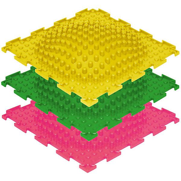 Модульный массажный коврик ОртоДон Островок 3 шт., жёсткиеМассажеры<br>Характеристики:<br><br>• возраст: от 3 лет;<br>• материал: ПВХ;<br>• количество модулей: 3;<br>• цвета: желтый, зеленый, розовый;<br>• размер одного модуля: 25х25 см;<br>• жесткость: жесткие;<br>• назначение: для ступней;<br>• цель: развитие вестибулярного аппарата, координации, профилактика плоскостопия, коррекция вальгусной деформации ног;<br>• вес упаковки: 1,6 кг.;<br>• размер упаковки: 27х14х27 см;<br>• страна бренда: Россия.<br><br>Модульный коврик Орто «Островок» предназначен для массажа стоп детей и взрослых. Коврик собирается как пазл. При регулярном использовании снижается утомляемость, укрепляются мышцы ног, улучшается кровообращение.<br>Ширина мм: 270; Глубина мм: 140; Высота мм: 270; Вес г: 1600; Цвет: разноцветный; Возраст от месяцев: 36; Возраст до месяцев: 2147483647; Пол: Унисекс; Возраст: Детский; SKU: 8659299;